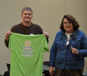 Dr. Eric Bergquam and Laura Tilirico sport Rotary shirt for Nepal Dental Clinics 111115 (1)