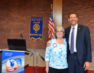 Noon and Morning Rotary Club Presidents Leah Griffith and Ron Wolfe 083116