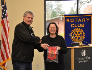 Kathmandu Flag presented to Newberg Rotary President Jim McMaster 021016