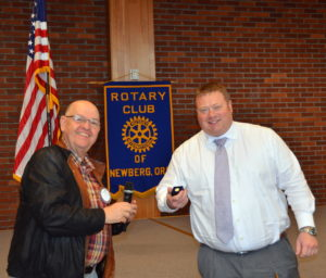 Mike Carusos presents PHF pin to Grant Gerke 041917