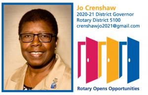 Virtual Club Meeting: District 5100 Governor Jo Crenshaw